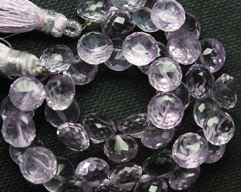 8 Inch Strand,PINK AMETHYST Faceted Onion Shape Briolettes 7-8mm size,