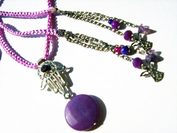 Large lilac faset cut agate with crochet violet cord lariat necklace