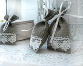 Set of 50 -Natural Rustic Linen Wedding Favor Bag or Candy Buffet Bag or Gift Bag