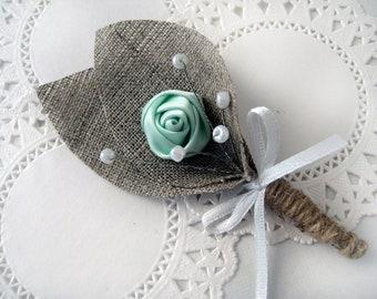 Set of 5 - MINT GREEN Flower burlap Boutonniere (buttonhole)