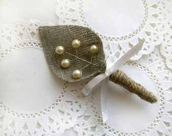 Set of 5-Ivory  sprig pearl burlap Boutonniere