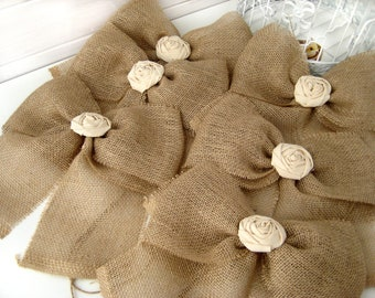 NEW Burlap Bow Rustic Wedding Fabric Rose Set of 24 Pew Bows   Aisle Decor on chairs or bench