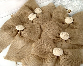 NEW Burlap Bow Rustic Wedding Fabric Rose Set of 10 Pew Bows   Aisle Decor on chairs or bench