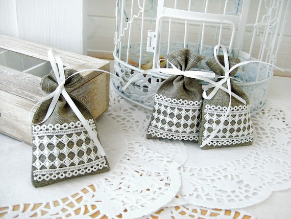 Set of 50 - Wedding favor bags - Natural Rustic Linen Wedding Favor Bag or Candy Buffet Bag or Gift Bag