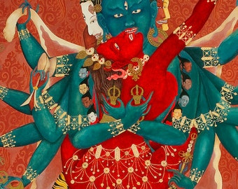 Buddhist Tibetan Thangka Thanka Tanka Deity giclee print Chakrasamvara yab yum union of wisdom and compassion: Closeup