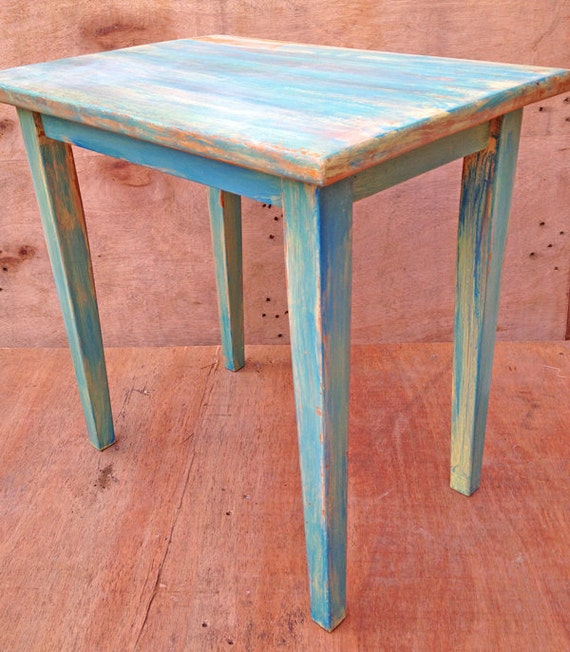 Upcycled Wooden Side Bedside Table In A Washed By