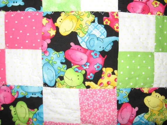 Baby or Toddler Quilt - Happy Hippos - Bright And Colorful Pink and Green Checkered Pattern