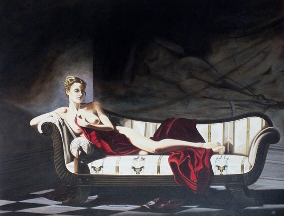 Semi nude lady on chaise - Original Oil Painting on stretchered canvas by International artist Allen Richings