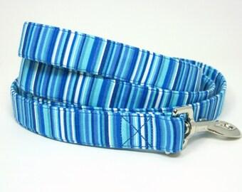 Wrap Around Fabric Dog Leash-Blue Stripe
