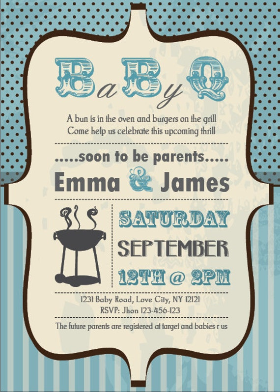 baby shower bbq invitation couples boy