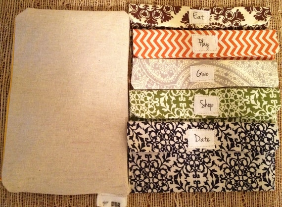 8 Envelopes with pouch-Fabric Envelope Cash System-