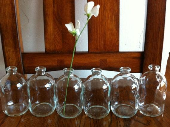 Set of 6 French Mini Glass Vases