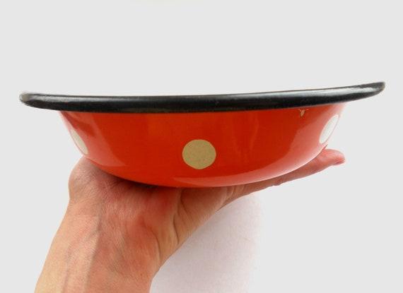 RESERVED KM Vintage enamelware Orange White dotted bowl Polka dot bowl Soviet vintage housewares 1980s