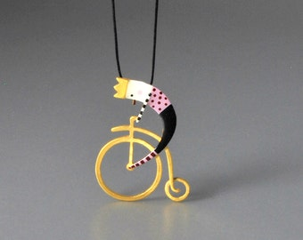 King's Ride Pendant Gold Plated Sterling Silver Delicate Figure Vivid Colours Statement Necklace