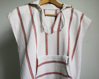 70s mens sleveless hoodie. Mens hippie vest with hood // S, M