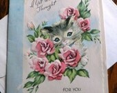 vintage cards ... A GET WELL Thought for You retro CARD only ...