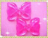 2pcs Hot pink large bling bowknot  flatback cabochon 54x40mm