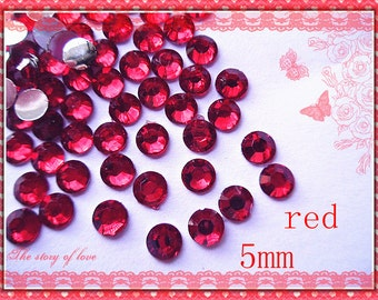 200pcs-   Red Flatback Rhinestone cabochons 5mm