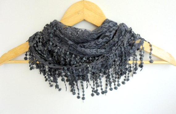 New summer fashion scarves,new scarf trends, gray scarf,Cowl Scarf with Lace Edge,gray grey