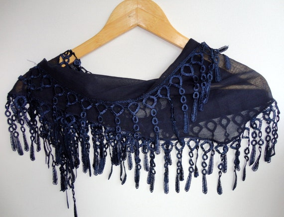 Christmas gift,Cotton scarf,navy blue,Lace scarf - Women Scarf Shawl Scarf - Cowl Scarf with Lace Edge - Cotton Scarf with Lace for her