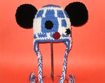 R2D2 Earflap Hat with Mouse Ears. (Any Sizes: Newborn to Adult). Please send size.