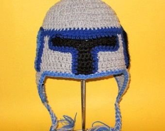 Crochet Pattern PDF Jango Fett Hat. Beanie and Earflap. (All Sizes Included: Newborn to Adult). Permission to sell finished items.