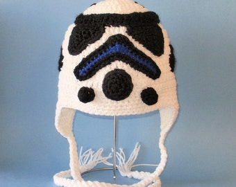 Crochet Pattern PDF Stormtrooper Hat. Beanie and Earflap. (All Sizes Included: Newborn to Adult). Permission to sell finished items.
