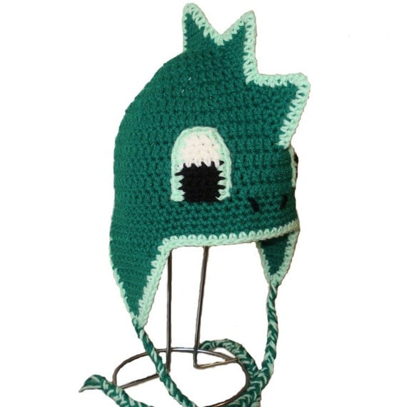 Crochet Pattern PDF Dragon Hat. Beanie and Earflap. (All Sizes Included: Newborn to Adult). Permission to sell finished items.