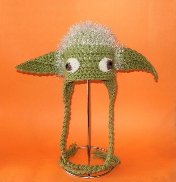 Crochet Pattern Yoda Ears : Crochet Pattern PDF Yoda Hat. Beanie and Earflap. by ...