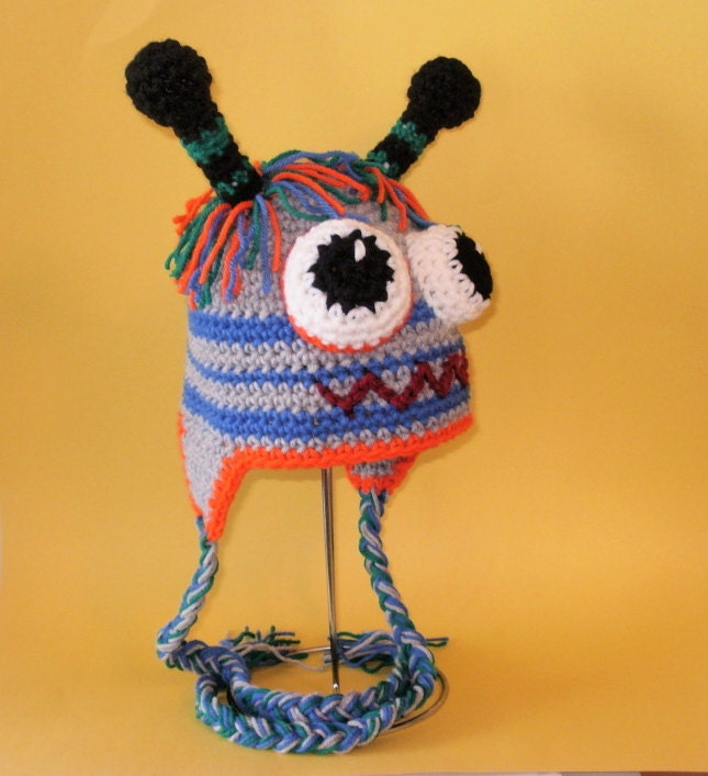 Crochet Pattern PDF Robot-Monster Hat. Beanie and Earflap.