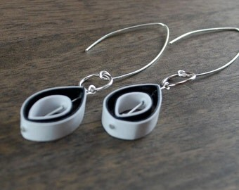 Paper Earrings / Paper Anniversary Gift / Paper Jewelry / Eco Friendly Jewelry / 1st Anniversary Gift - Edison