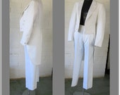 REDUCED 1970s White Tuxedo (Bride or Groom) Unisex Dynasty Collection from TV Series