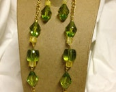 Handmade Sparkling Yellow and Green Gold Plated Long Necklace and Dangle Earring Set
