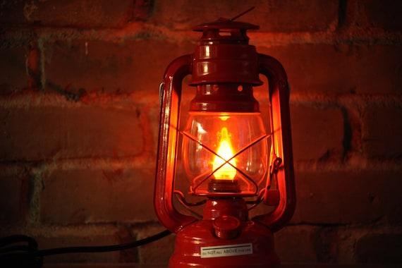 Hurricane Lantern RED with AMBER orange LED light converted