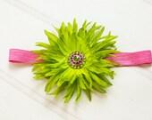 Easter Headband.Spring Headband.Bright Headband.Baby Easter Headband.Girls Easter Headband.Green Headband.Hot Pink Headband.Flower Headband