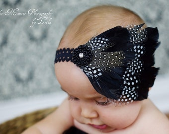 Feather Headband For Babies  / Newborn Feather Headband / Baby Feather Headband / Infant Feather Headband / Photo Prop / Lace Headband