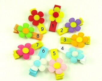 You Pick 3 Toddler Hair Clips - Baby Girl Hair Clip - Felt Flower Clip