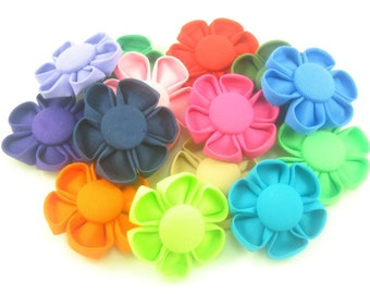 Kanzashi Flower Hair Clip - Available in 18 Colors - No Slip Clip
