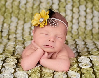 Newborn Photo Prop Headband.Baby Photo Prop Headband.Newborn Baby Headbands.Infant Headband.Headband.Newborn Photo Prop.Flower Headband Baby