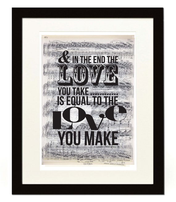 items similar to and in the end the beatles lyrics poster a3 16 5 x 11 7 inches on etsy. Black Bedroom Furniture Sets. Home Design Ideas