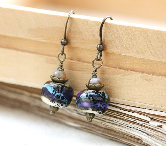 SALE earrings, Small Boho Earrings, Earthy Earrings, Lampwork Glass Earrings, Purple Blue, Rustic jewelry by MayaHoney