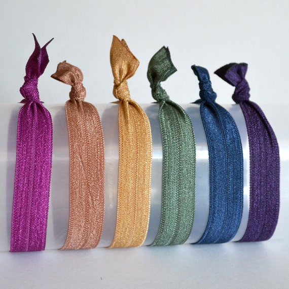 Elastic Hair Ties - Fall Jeweltone Colors - Set of 6