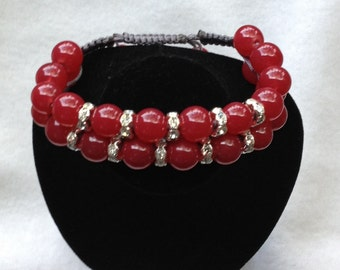 Women Shamballa Bracelet-Red
