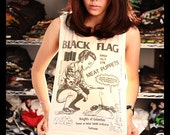 BLACK FLAG Poster Concert Crop Top Shirt Side Boob Short Tank Top Antique Off White Free Size