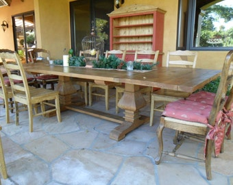 Reclaimed wood. Double PEDESTAL TABLE from old reclaimed pine wood. USA made.