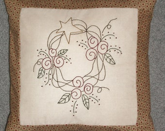 Hand Embroidered Prim Rose Wreath Pillow Cover