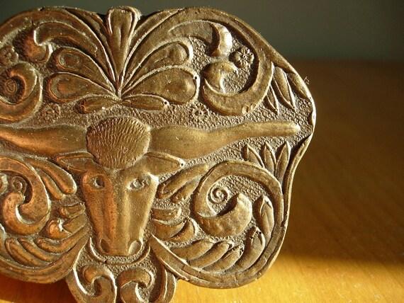 Vintage Brass Belt Buckle -- Longhorn Steer Floral Design