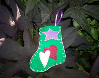 Stocking Ornament - Green Hearts