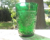 Anchor Hocking Glass Company Green Sandwich Crystal Tumblers 4""