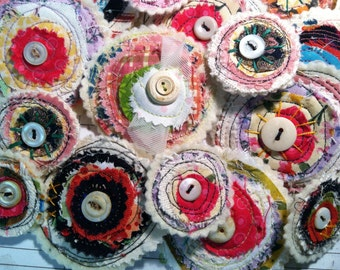 Fabric flowers, flower clip, hair clip, accessory